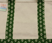 SMALL DIAMOND PATTERN LONG MINI CANVAS TOTE-GREEN