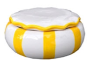 RUFFLE TRINKET BOWL WITH LID- YELLOW